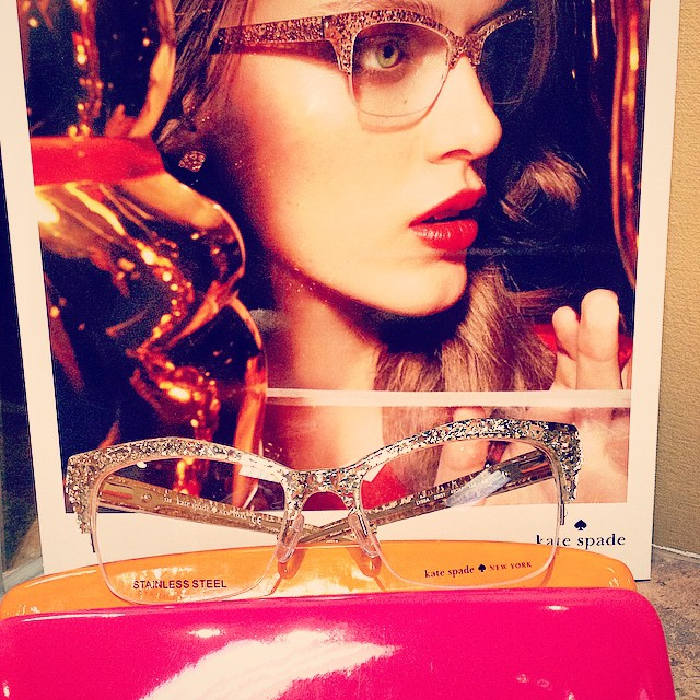 New Kate Spade frame, come in and check it out! #katespade #blingframes #glitterglasses